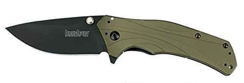 Kershaw New Knockout Olive Handle Black Blade SpeedSafe Assisted Opening Folding Knife + a Free Zombie Hunter Survival Knife