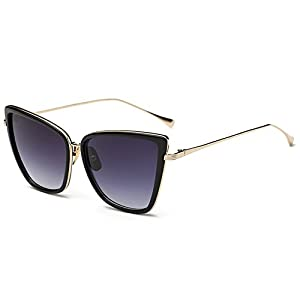 Joopin Fashion Cat Eye Sunglasses Women Retro Transparent Frame Brand Sun Glasses (Black, Simple packaging)