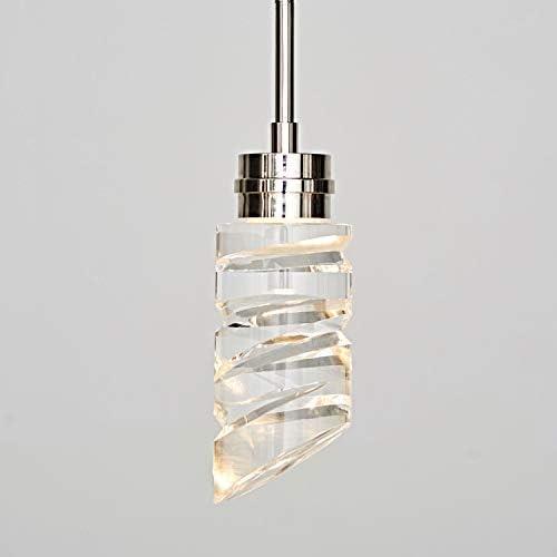 MOTINI 1-Light Crystal LED Pendant Light in Silver Polished Nickel Finish, Mini Carved Cylinder Adjustable Rod Single Hanging Pendant Light for Kitchen Island Bedroom Dining Room