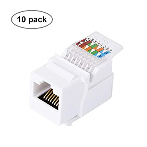 CAT5E RJ45 Keystone Jack [UL Listed] Unshielded Tool-Less Keystone Punch-Down Stand and 90-Degree with Color Coded Wiring Schema for Wall Plate Outlet Panel (White, 10 Pack)