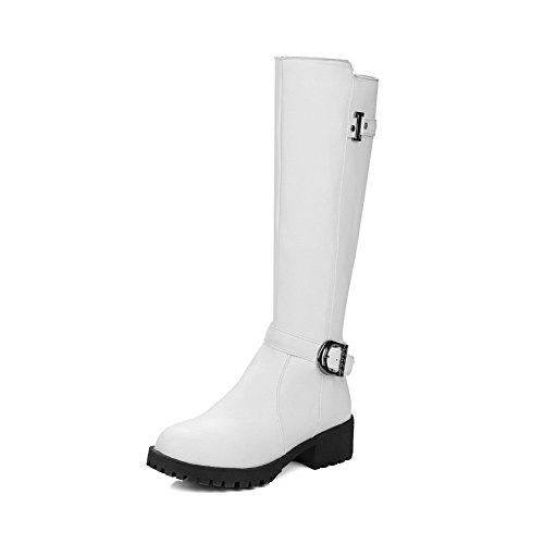 VogueZone009 Damen Rund Zehe Hoch-Spitze Niedriger Absatz Eingelegt PU Leder Stiefel, Weiß, 43