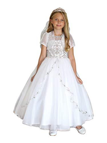 Angels Garment Big Girls White Satin Tulle Bead Adorned Communion Dress 8 from Angels Garment