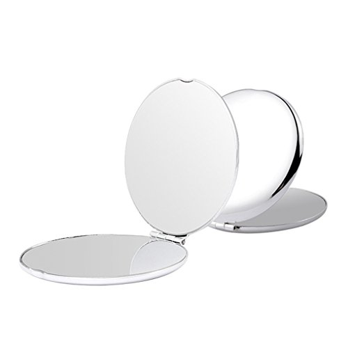 - MINI POCKET MIRROR, All Stainless Steel Round Travel Cosmetic Mirror in 2.5 Inch Size