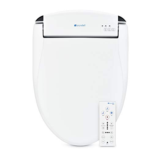 Brondell Swash SE600 Bidet Toilet Seat, Fits Elongated Toilets, White - Bidet - Oscillating Stainless-Steel Nozzle, Warm Air Dryer, Ambient Nightlight