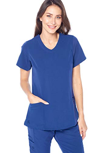 Angel Uniforms- Lily 4-Pocket, Slim-Fit Stretch Scrub Top Medical Anti-Wrinkle Navy