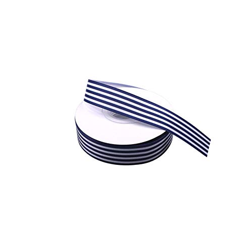 Navy and White Taffy Striped Grosgrain Ribbon 1 Inch Gift Wrap Ribbon for Party Wedding Holiday Handmade Craft Decor 25 Yards ()