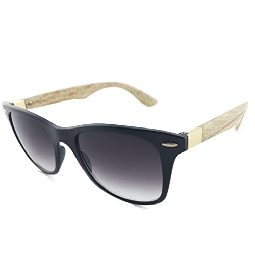 Tansle Wayfarer Mens Sunglasses High imitation Wood Light Plastic Frame Lens ()