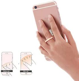 Rose Gold IYOYI Bling Cell Phone Ring Holder 360/° Thin Wireless Charging Finger Ring Stand Phone Light Grip for iPhone11 X Samsung Huawei and More