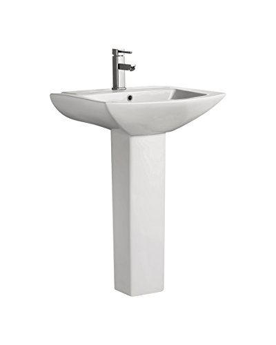 "Swiss Madison SM-PS306 Pedestal Bathroom Sink Single Faucet Hole, 19"" W, White"