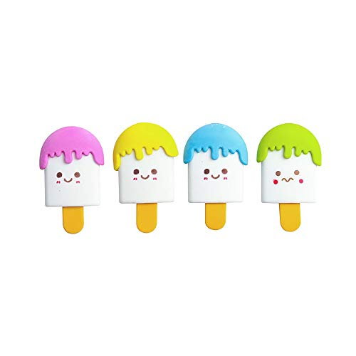(andy cool Novelty Mini Erasers,4 Pcs Cute Ice Cream Erasers Smile Face Erasers Rubber for Pencil Kid Funny Adorable Stationery Supplies Random Color Useful and Practical)