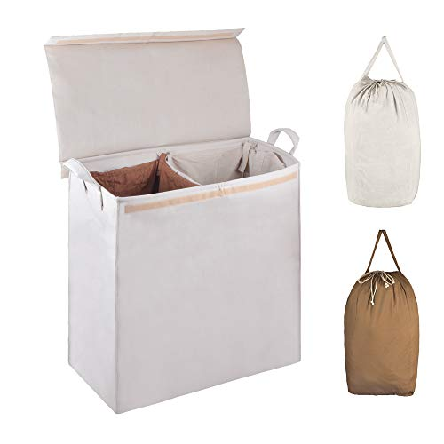 - MCleanPin Foldable Double Laundry Hamper with 2 Sorting Liners,2 Section Laundry Sorter with Lid,Removeable Laundry Bags with Drawstring Closure and Handles,Clothes Hamper for College,Dorm Room.Beige
