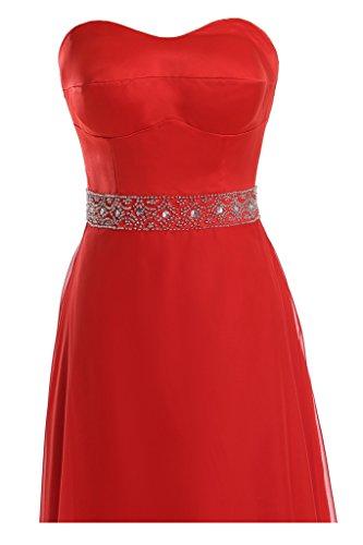 Diseño en forma de corazón de la Toscana de novia de Gasa de satén a bola vestidos de noche vestidos de fiesta largo Rojo