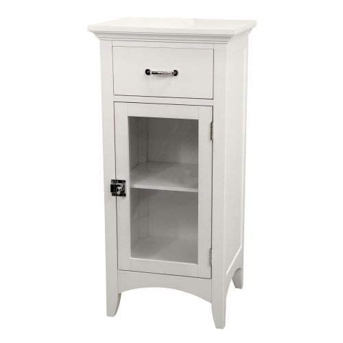 Best Deals! Elegant Home Fashions Madison Collection Shelved Floor Cabinet with Drawer, White