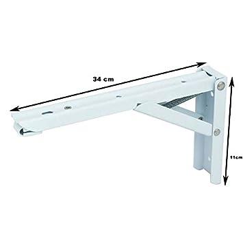 Edelstahl Winkel klappbar mit hoher Belastbarkeit in verschiedenen Gr/ö/ßen 29,5 x 11 x 1 cm, Wei/ß 2x Stabile Klappscharniere Regalwinkel Klappwinkel