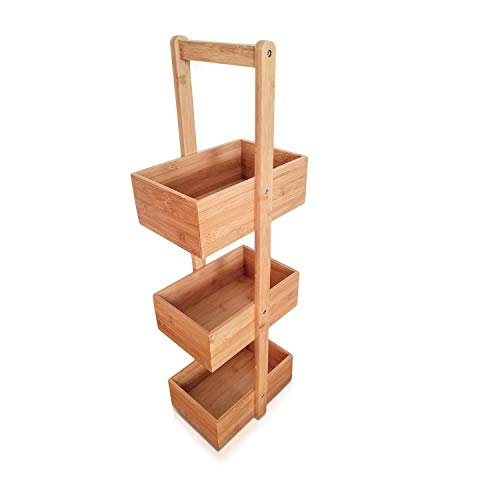 SplashSoup Three Tier Bamboo Natural Home Caddy | Free Standing Bathroom Organizer | Kitchen Accessory Storage Rack | Decorative Living Room Holder | Multifunctional Compartment Shelf Bins (Wood Natural Bathroom Accessories)