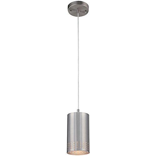 (Westinghouse Lighting 6101200 Contemporary One-Light Adjustable Mini Pendant with Perforated Cylindrical Metal Shade, Brushed Nickel Finish)