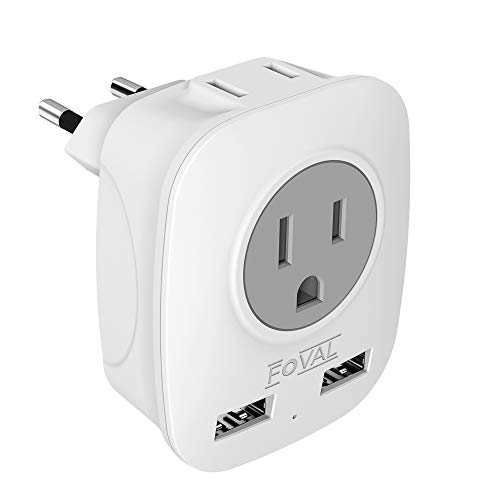 European Plug Adapter, Foval International Travel Power Adaptor with 2 USB, 4 in 1 US to Europe Travel Plug Adapter for France, Italy, Germany, Spain, Greece (Type C)