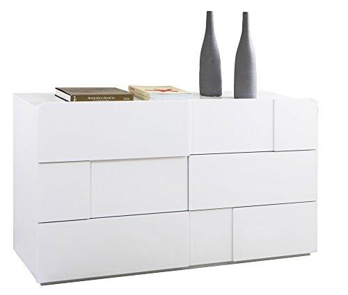 Cassettiere Bianco Lucido.Composad Cassettiera Con 6 Cassetti Di Colore Bianco Lucido Linea Arcora