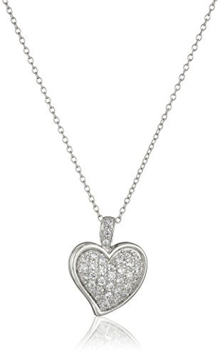 Sterling Silver Cubic Zirconia Pave Heart Pendant Necklace, 18""