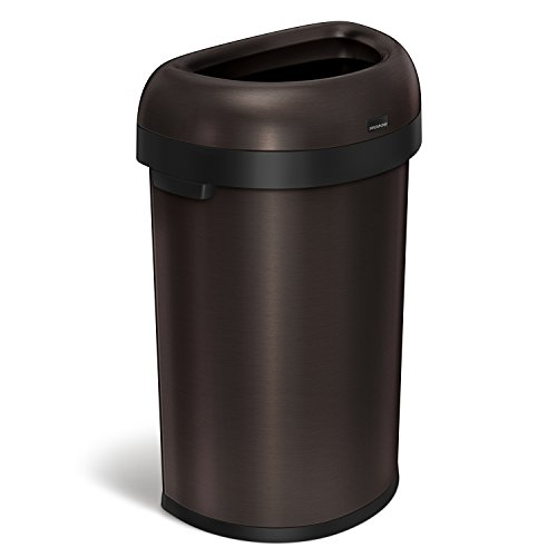 simplehuman Semi-Round Open Top Trash Can, Commercial Grade, Heavy Gauge Dark Bronze Stainless Steel, 60 L / 16 Gal by simplehuman