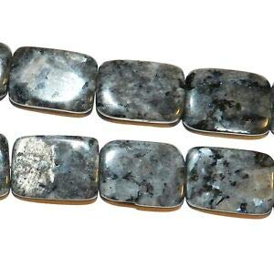 (NG1456 Norwegian Labradorite 25mm Flat Rectangle Larvikite Gemstone Beads 15
