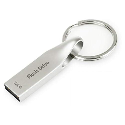 Metal USB Flash Drive 32 GB 2.0 - Silver with Key Ring by VOJOASON