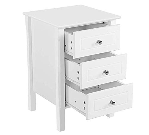 yuxi White Bedroom Side End Table 3 Drawers Wood Storage Cabinet Nightstand, Set of 2, by yuxi