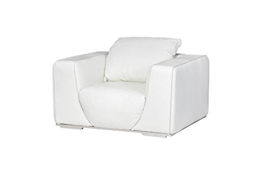 Michael Amini Sophia Leather Chair, White/Stainless Steel