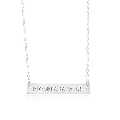 In Omnia Paratus Bar Necklace Strength Jewelry A Motivation Necklace Mantra Pendant Is An Inspirational Charm, In Omnia Paratus Bar Jewelry ()