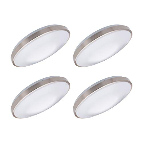 "OSTWIN 11"" LED Dimmable Flush Mount Ceiling Light Metal Ring Fixture Round 16 Watt (120W Repl) 5000K Daylight 1200 Lm, Nickel Finish with Acrylic Shade, 4-Pack, ETL and Energy Star Listed"