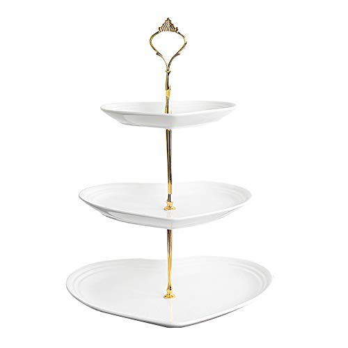 FEOOWV 3 Layer Ceramic Fruit Tray Dessert Table Cake Stand Dry Fruit Tray Tea Party Decoration (Heart Shape-White) ()