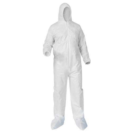 Microporous Film Disposable Coveralls (Kimberly-Clark 38949 KleenGuard A35 Liquid and Particle Protection Coverall with Elastic Wrists and Ankles, Hooded, Booted, Disposable, White (Pack of 25))