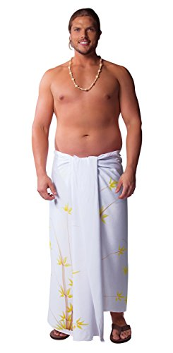 1 World Sarongs Mens Plus Sized Sarong Bamboo in White Fringeless (TM) (Best Looking Kd 6)