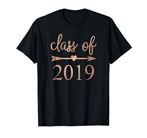 Senior Class of 2019 T Shirt ~ Heart Arrow Rose Gold Pink -