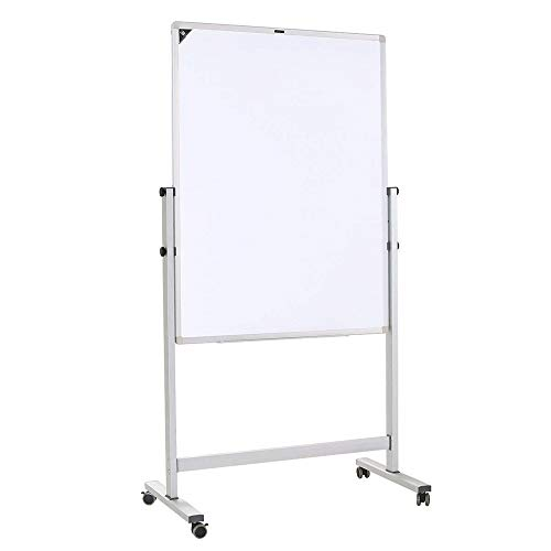 ZHIDIAN Magnetic Whiteboard Dry Erase Board, Rolling Double-Sided Lightweight Whiteboard Aluminium Frame with Marker Tray for Office School Home, Includes Markers/Magnetic (Two-Sided 32 x 40 Inch) ()