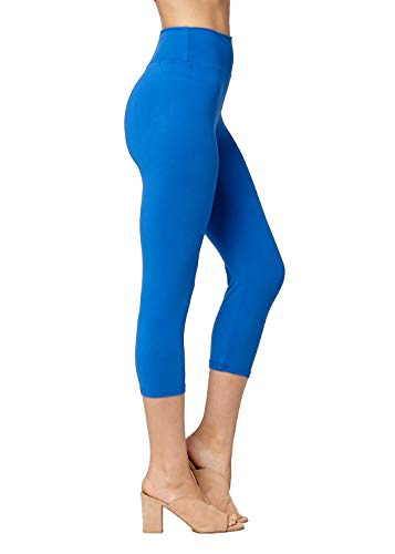 Super Soft High Waisted Leggings for Women - Capri Royal Blue - Large/X-Large (12-22) - Plus (Leggings Stretch Cropped)