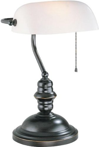 Banker'S Lamp Dark Bronze With Frost Glass