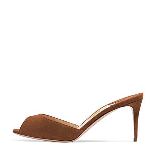 FSJ Women Comfort High Heel Mules Peep Toe Slide Sandals Slip On Dress Pump Shoes Size 9 Brown-10 cm ()