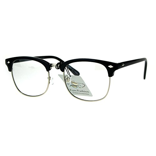 Mens Classic Horned Half Rim Hipster Nerdy Retro Eye Glasses Black - Glasses Nerdy Hipster