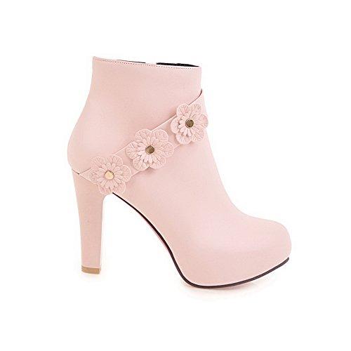 und Floral aus AdeeSu Polyurethan SXC02563 Womens Reißverschluss Absatz High Pink hohem Heel Stiefeletten mit ZwFqfB
