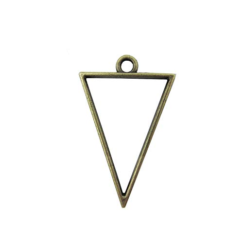 Pendant Back Loop - 30 Pcs Triangle Open Bezel for Resin, Zinc Alloy Open Back Bezel Pendant Blanks with 1 Loop for Jewelry Making