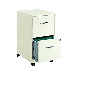 """Hirsh Industries 18"""" Deep 2 Drawer Steel File Cabinet in White"""