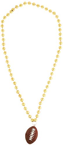 Beads w/Football Medallion (gold) Party Accessory  (1 count) (1/Card)]()