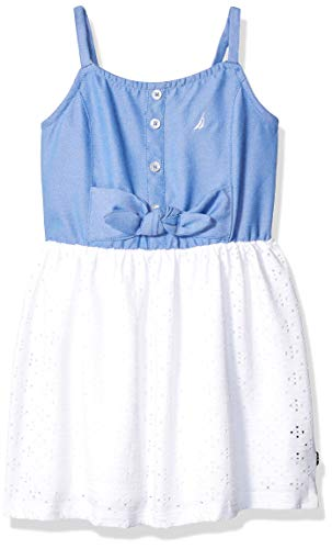 Nautica Little Girls' Patterned Sleeveless Dress, Eyelet Light Chambray, -