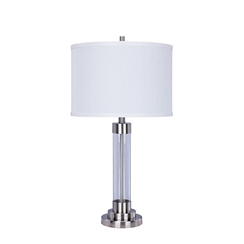 Martin Richard W-5129BS Brushed Steel Metal & Clear Glass Table Lamp, 28
