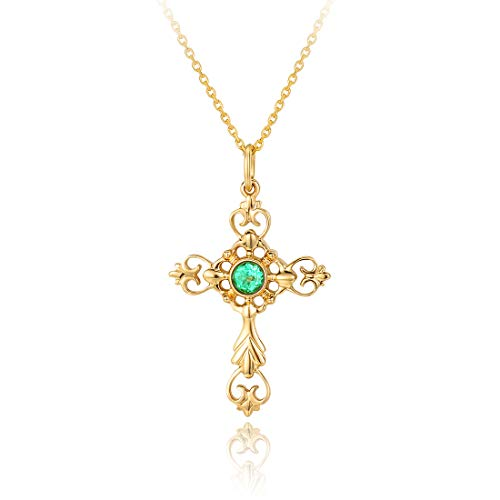 (Carleen 18K Solid Yellow Gold 0.20ct Genuine Emerald Crucifix Dainty Pendant Necklace Fine Jewelry For Women Girls, 16