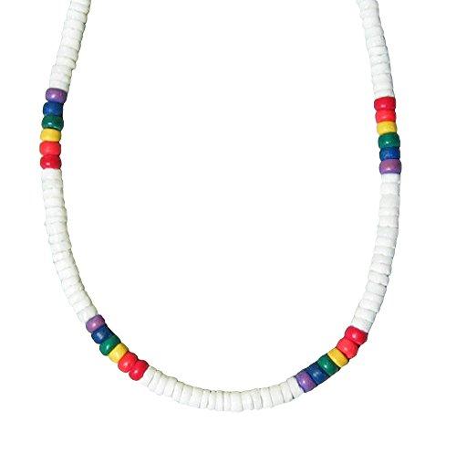 Native Treasure 16 inch Kids White Heishe Puka Shell Necklace Rainbow Color Coco Beads ()