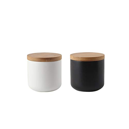 Danmu 2Pcs a Set Ceramic Candy Dish with Bamboo Airtight Lids Cookie Jar Storage Jar Buffet Jar Biscuit Coffee Oatmeal Tea Sugar Containers 250ml / 8.5oz (Cookie Ceramic Lid With Jar)