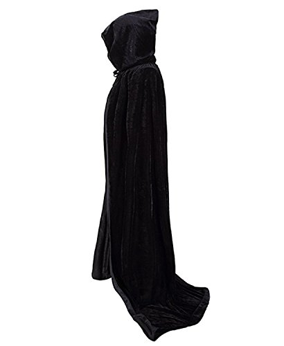 Portsvy - Ropa para Halloween, Color Negro, Capa Larga, Capa Medieval, Cosplay, Negro, Medium
