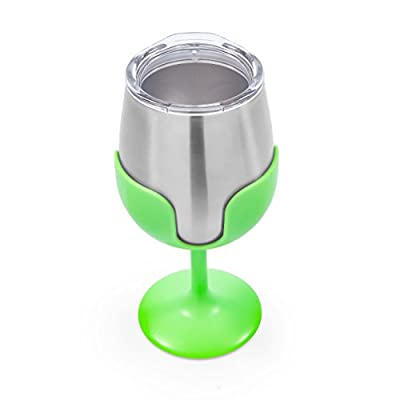 Camco Yellow and Green Stainless Steel Tumbler Set with Removable Bright Lime Wine Glass Stems-Leak Proof Lid, Vacuum Insulated, BPA Free 8 Oz-(51916): Automotive